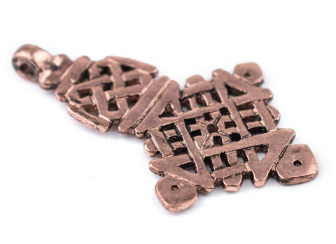 Awash Copper Ethiopian Coptic Cross Pendant (40x65mm) - The Bead Chest