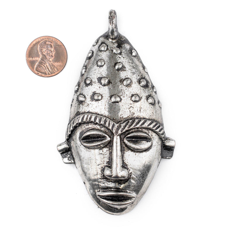 Elongated African Silver Mask Pendant (50x90mm) - The Bead Chest