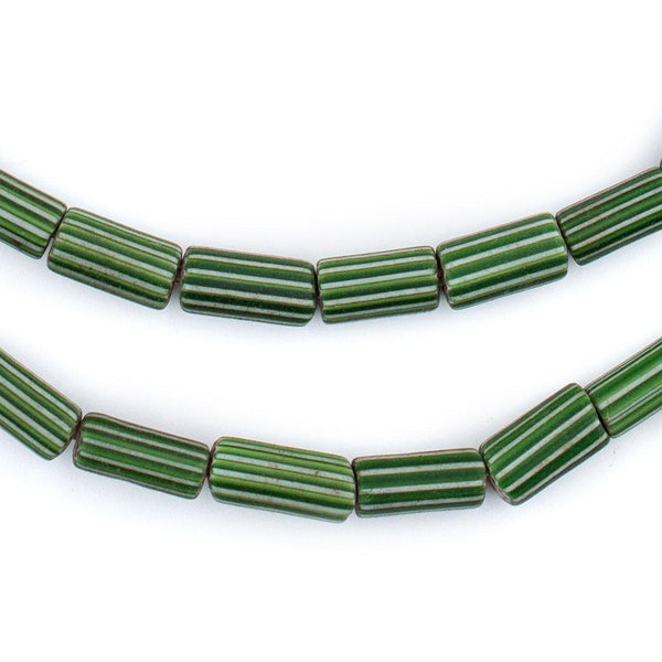 Green Cylindrical Striped Venetian Watermelon Chevron Beads