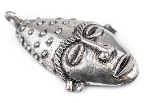 Image of Elongated African Silver Mask Pendant (50x90mm) - The Bead Chest
