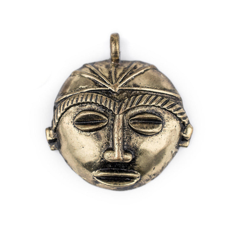 Round African Brass Mask Pendant (58x62mm) - The Bead Chest