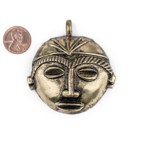 Image of Round African Brass Mask Pendant (58x62mm) - The Bead Chest