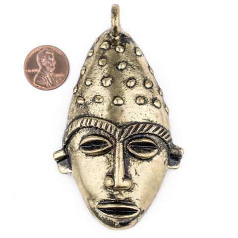 Image of Elongated African Brass Mask Pendant (50x90mm) - The Bead Chest
