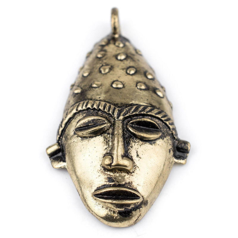 Elongated African Brass Mask Pendant (50x90mm) - The Bead Chest