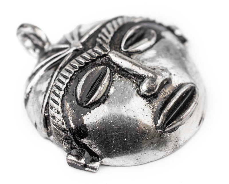 Round African Silver Mask Pendant (58x62mm) - The Bead Chest