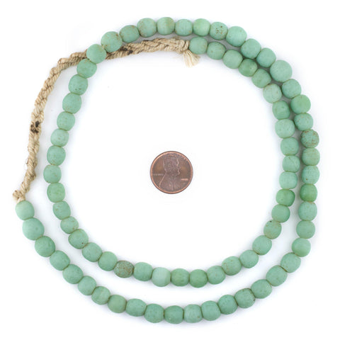 Pistachio Green Ancient Style Java Glass Beads (9mm) - The Bead Chest