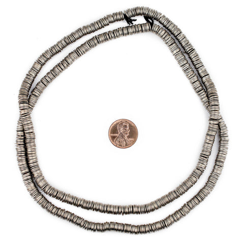 Silver Flat Disk Heishi Beads (6mm) - The Bead Chest