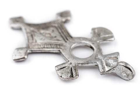 Image of Agounit Silver Moroccan Tuareg Cross Pendant (32x56mm) - The Bead Chest
