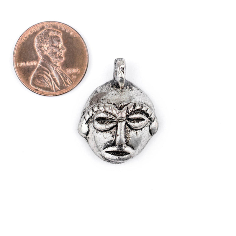 Round African Silver Mask Pendant (21x27mm) - The Bead Chest