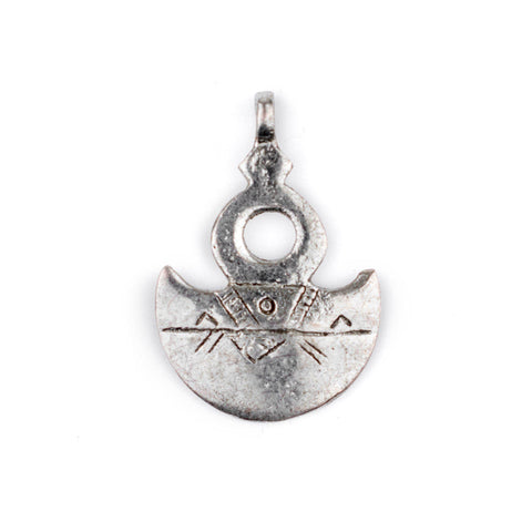 Engraved Tuareg Moon Pendant - The Bead Chest