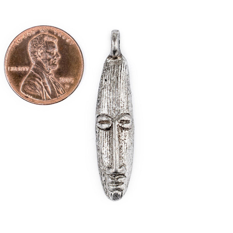 Elongated Silver Mask Pendant from Africa (9x40mm) - The Bead Chest