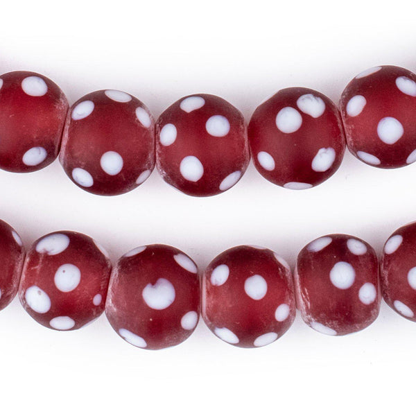 Red Venetian-Style Skunk Beads (14mm)