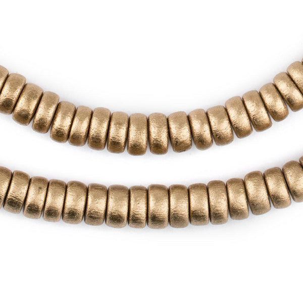 Gold Disk Natural Wood Beads (4x8mm) - The Bead Chest