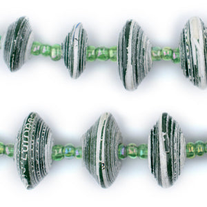 Green Recycled Paper Beads from Uganda (Large) - The Bead Chest
