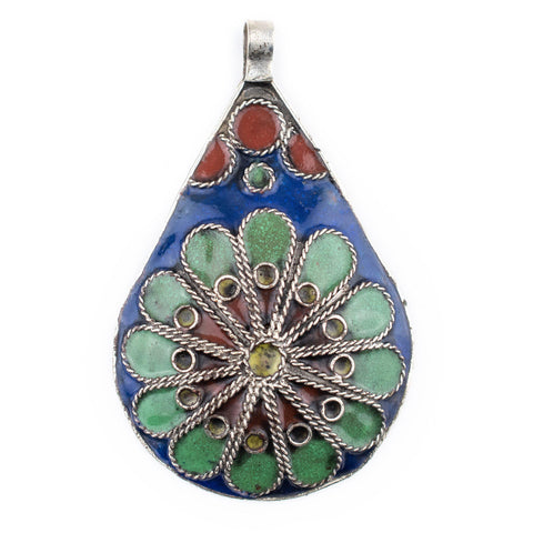 Image of Floral Medallion Enameled Berber Pendant - The Bead Chest