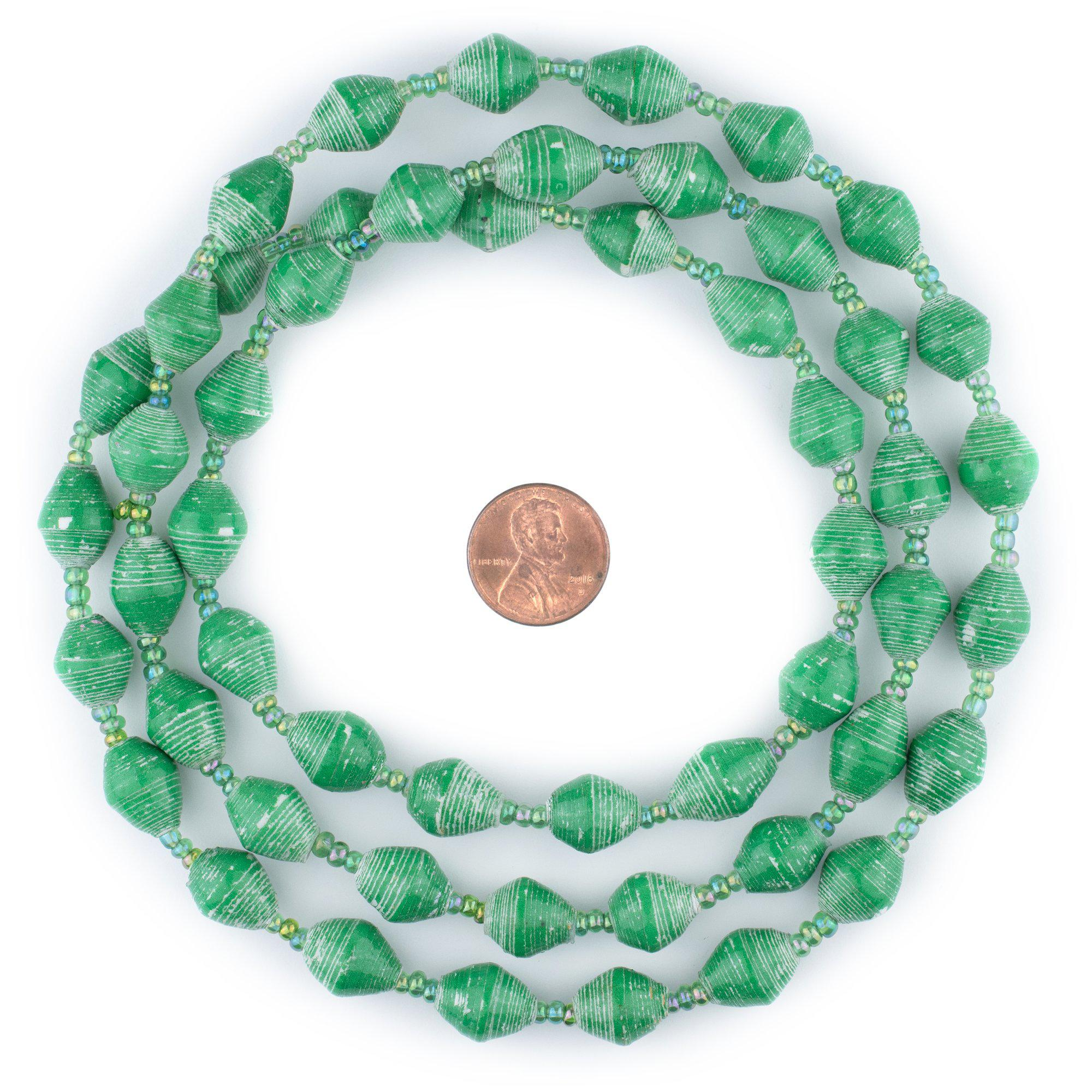 Spring Green Recycled Paper Beads from Uganda 11mm African Bicone 38 Inch Strand
