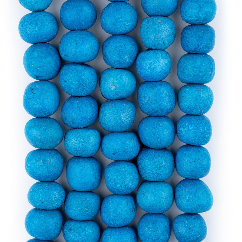 Turquoise Moroccan Pottery Beads (Round) - The Bead Chest