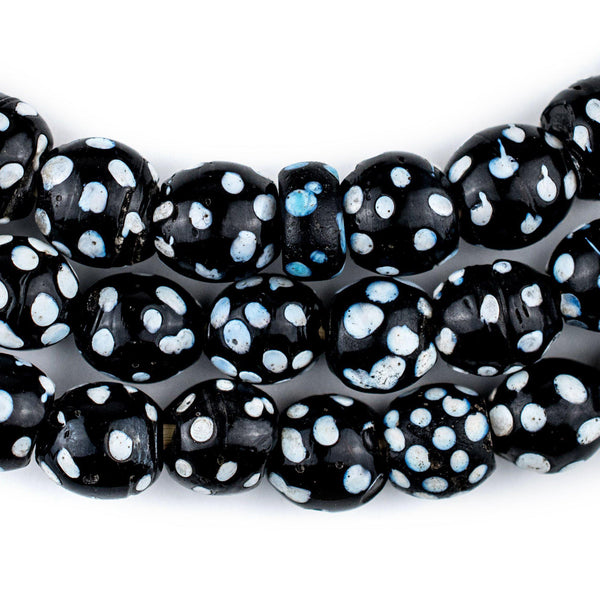 Old Black & White Skunk Eye Beads (Long Strand) - The Bead Chest