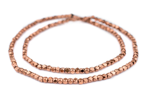 Diamond Cut Faceted Copper Beads (4mm) - The Bead Chest