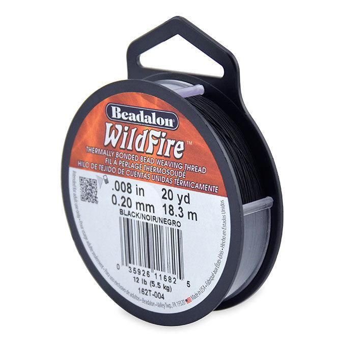 Wildfire Thread 0.20mm Black (60ft) - The Bead Chest