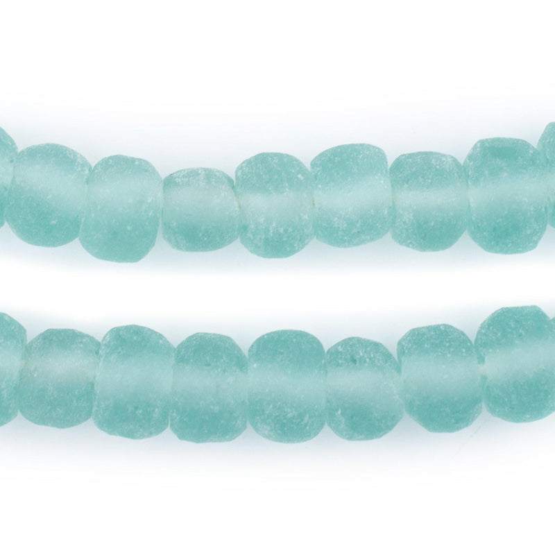 Clear Marine Rounded Rondelle Java Recycled Glass Beads (11mm)