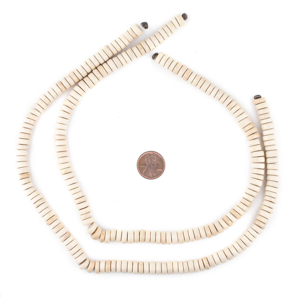 White Disk Wood Beads (8mm) - The Bead Chest