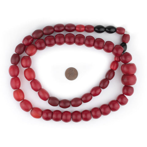 Red Graduated Medley Vintage Czech Glass Beads - The Bead Chest