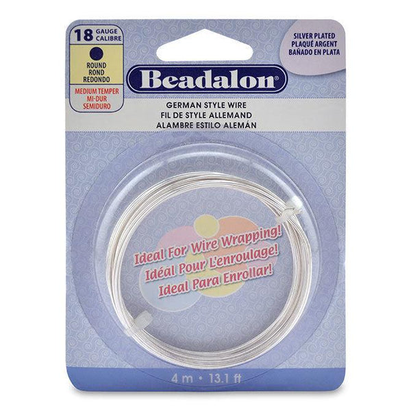 18 Gauge Round Silver Plated German Style Wire (13ft)