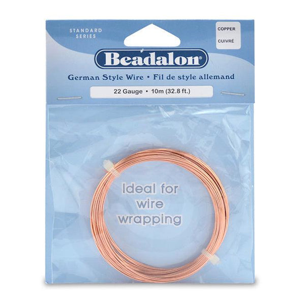 22 Gauge Round Copper German Style Wire (32.8ft)