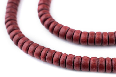 Cherry Red Disk Natural Wood Beads (4x8mm) - The Bead Chest