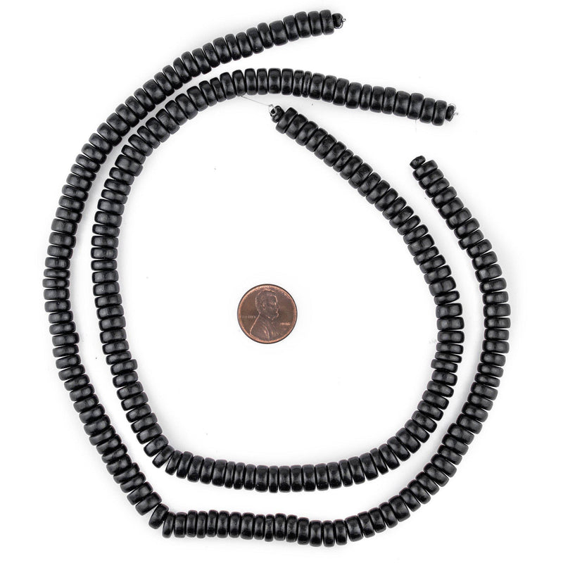 Black Disk Natural Wood Beads (4x8mm) - The Bead Chest