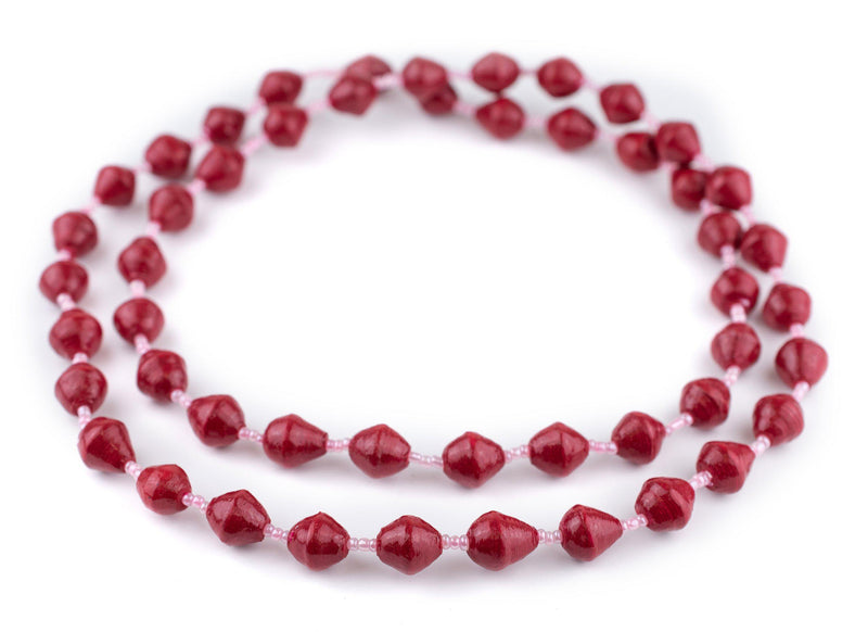 Cardinal Red Recycled Paper Beads from Uganda - The Bead Chest
