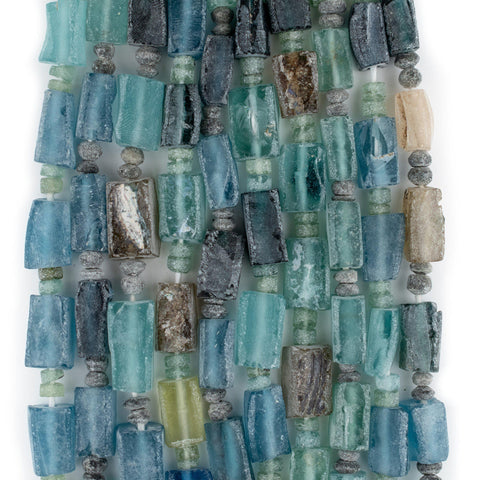 Image of Rectangular Ancient Roman Glass Beads (Aqua) - The Bead Chest