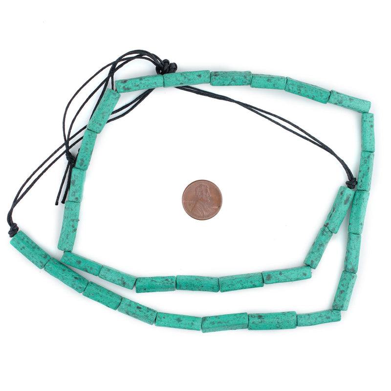 Amazonite Moroccan Pottery Beads (Rectangle) - The Bead Chest
