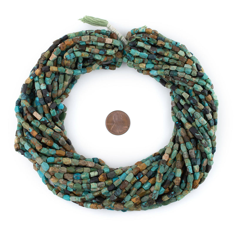 Faceted Dark Turquoise Stone Beads (6x4mm) - The Bead Chest