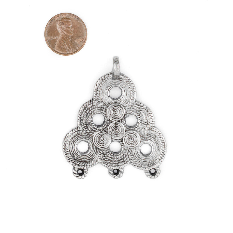 Silver Baule Beehive Connector Pendant (54x47mm) - The Bead Chest