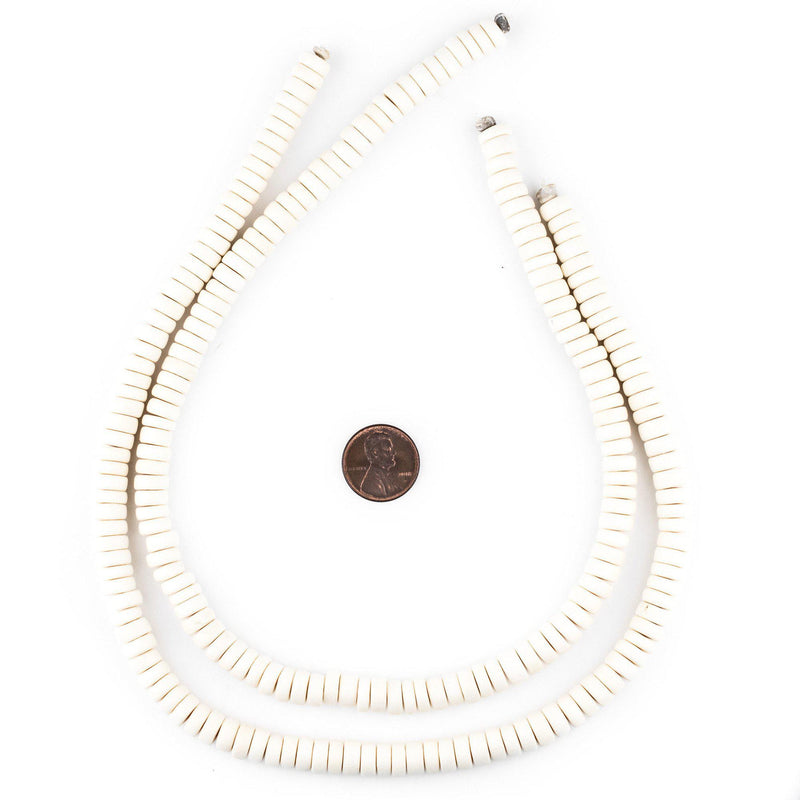 White Disk Natural Wood Beads (4x8mm) - The Bead Chest