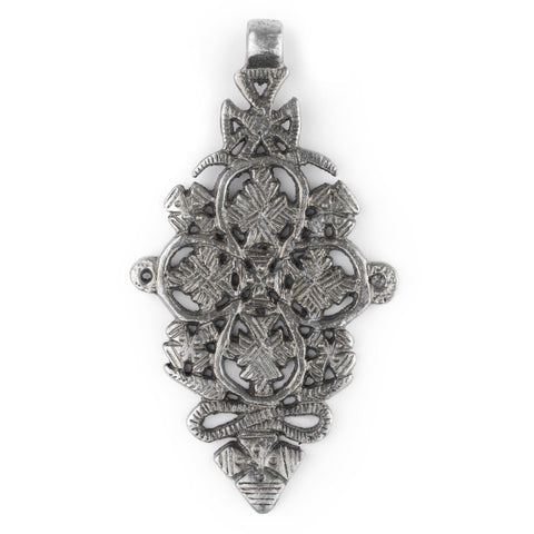 Image of Adama Silver Coptic Cross Pendant (45x85mm) - The Bead Chest