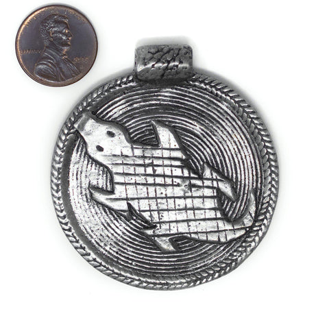 Silver Lizard Baule Bead Pendant (58x52mm) - The Bead Chest