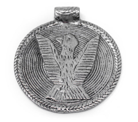 Image of Silver Bird Baule Bead Pendant (58x52mm) - The Bead Chest