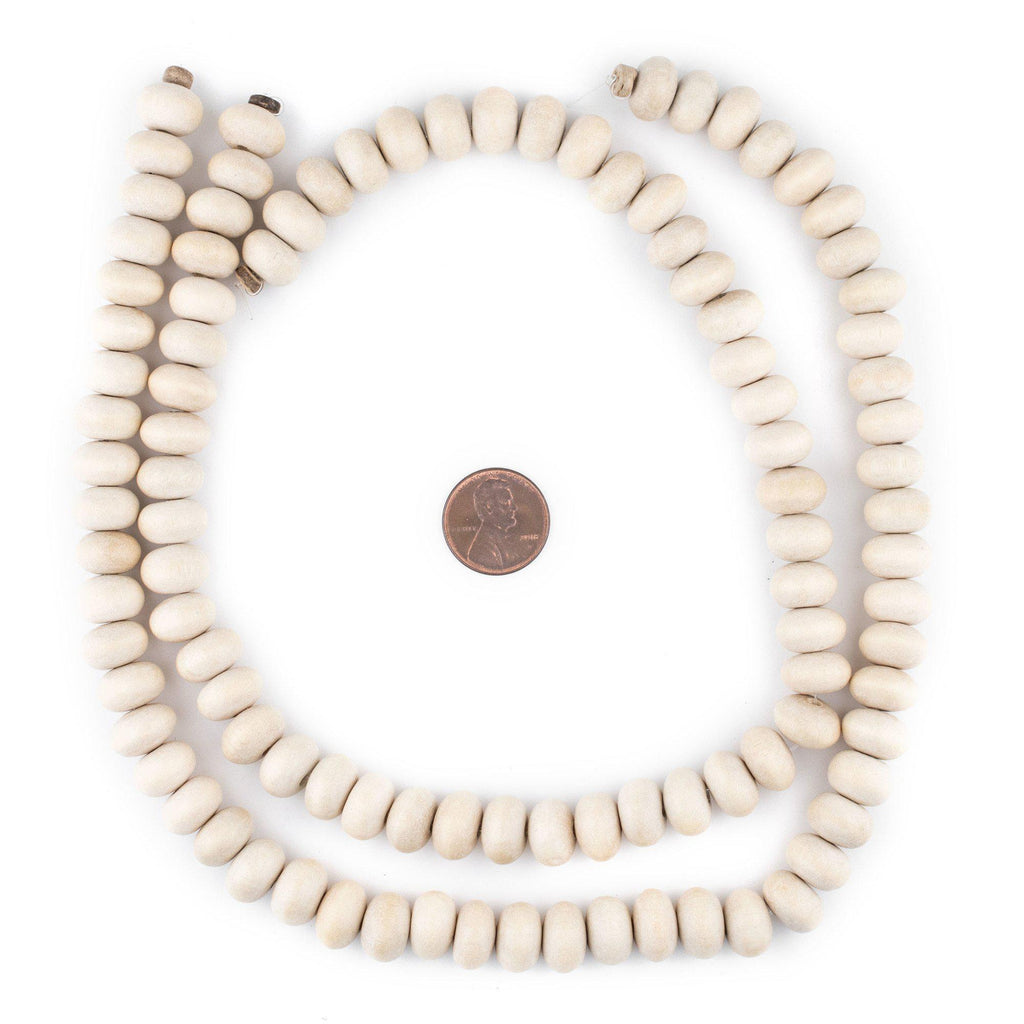 Cream Abacus Natural Wood Beads (8x12mm) - The Bead Chest