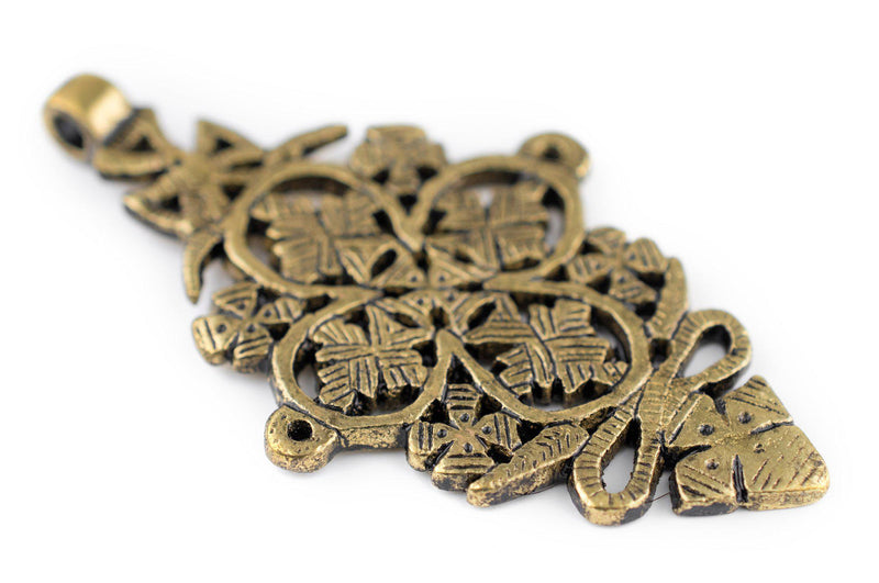 Adama Brass Coptic Cross Pendant (45x85mm) - The Bead Chest