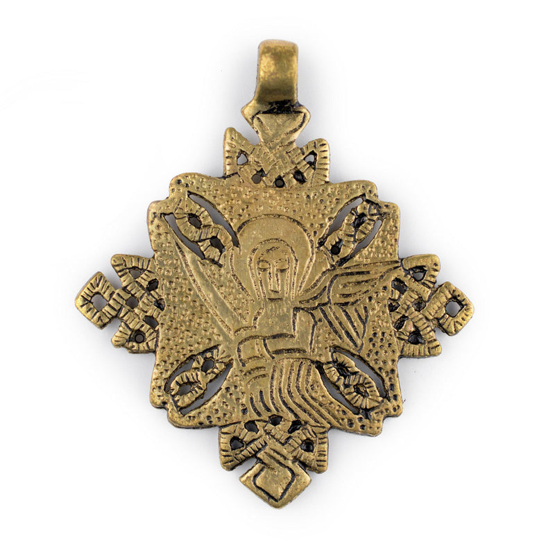 Turmi Brass Coptic Cross Pendant (55x65mm) - The Bead Chest
