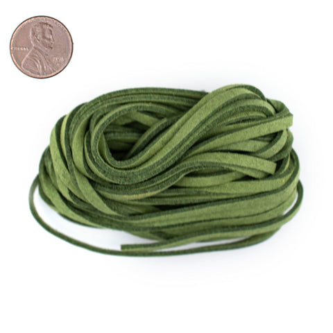 3mm Flat Lime Green Faux Suede Cord (15ft)