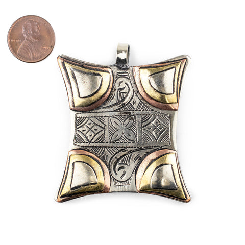 Handcrafted Tuareg Silver Talisman Pendant (62x53mm) - The Bead Chest