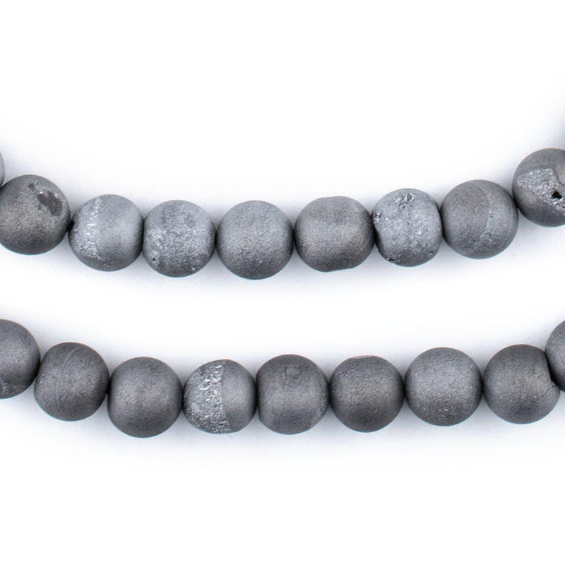 Silver Round Druzy Agate Beads (8mm) - The Bead Chest
