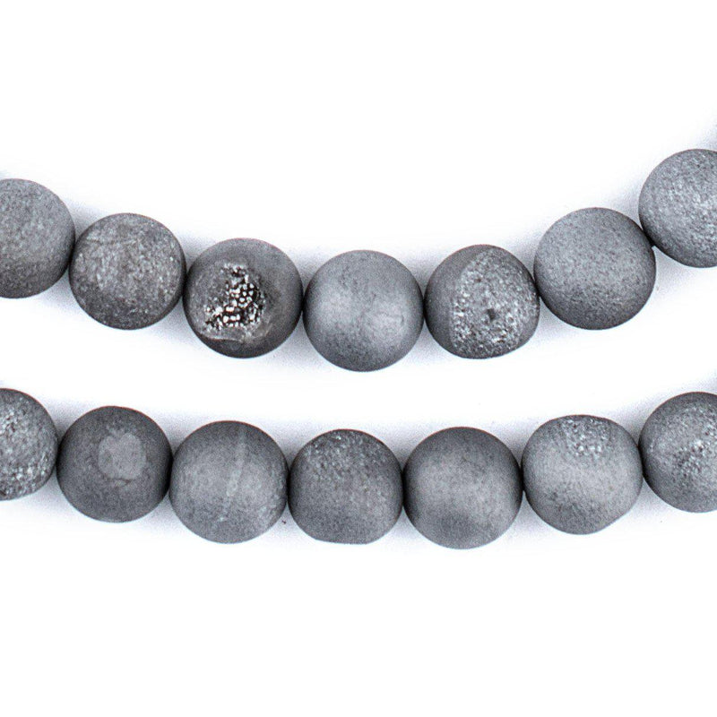 Silver Round Druzy Agate Beads (10mm) - The Bead Chest