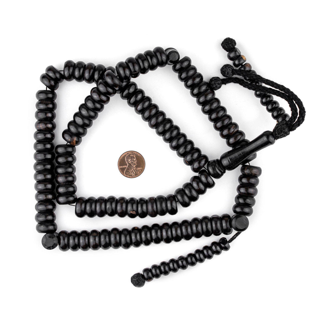 Rondelle Black Ebony Arabian Prayer Beads (14mm) - The Bead Chest