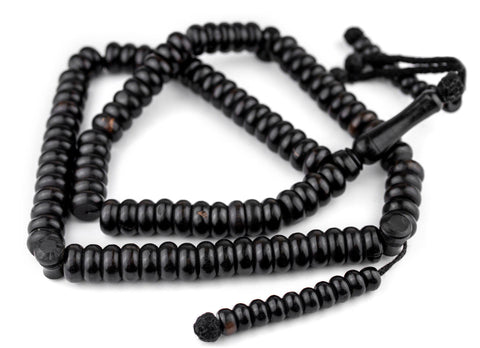 Image of Rondelle Black Ebony Arabian Prayer Beads (14mm) - The Bead Chest