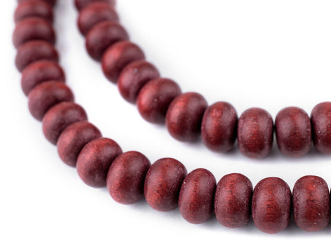 Cherry Red Abacus Natural Wood Beads (8x12mm) - The Bead Chest